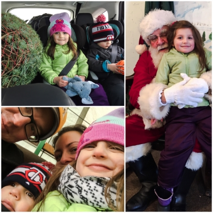 """Clockwise from Top Left: Tree in our car with kids; E and Santa (B was NOT interested); Attempted """"usie"""" on wagon out to trees."""