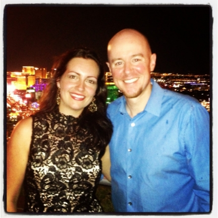 Us in Vegas--on top of the world. Or at least on top of Mandalay Bay