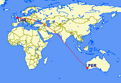 PER-LHR, 17.5 hours in the air!