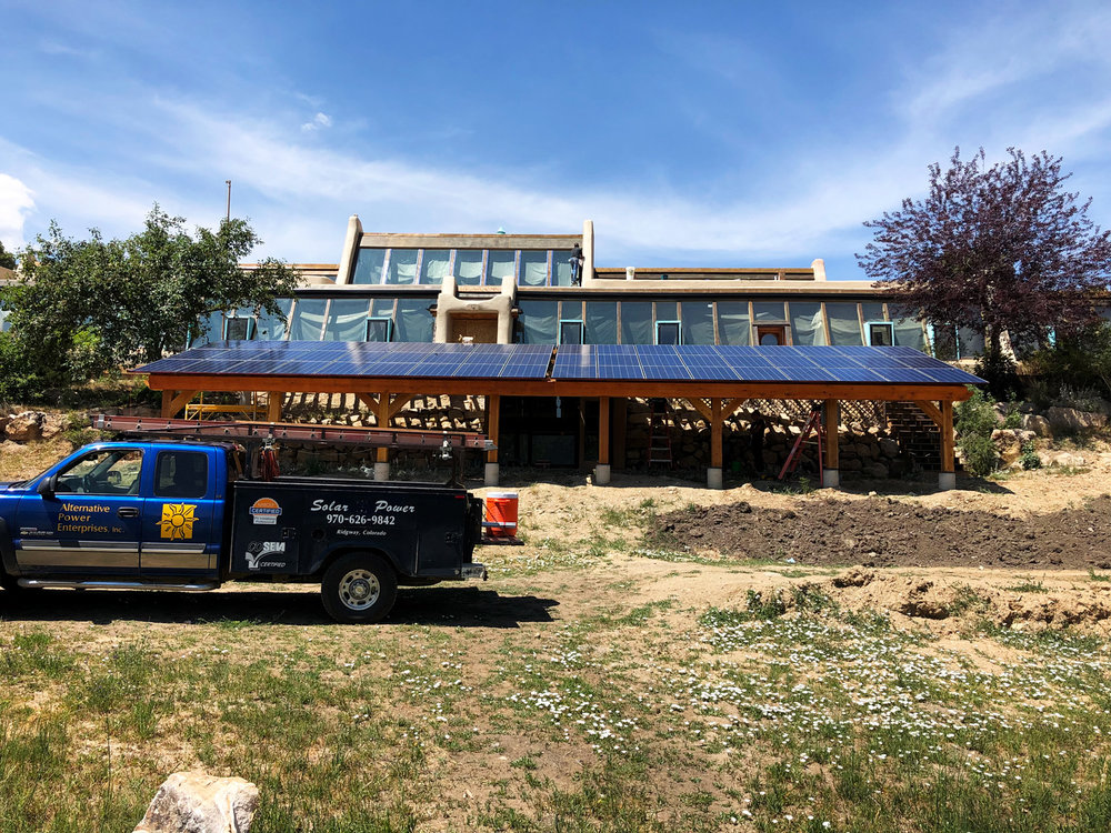A front view of the solar power system we installed for the Sunridge Earthship