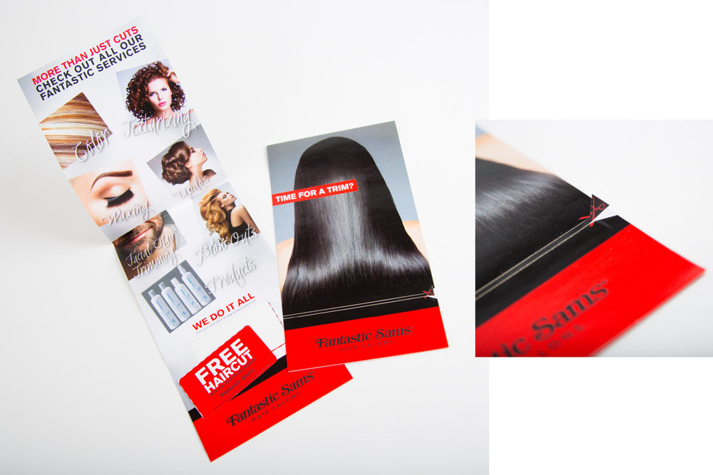 Fantastic Sams Self-Mailer Design  Digital Laser Cut Self-Mailer  Concept & Design