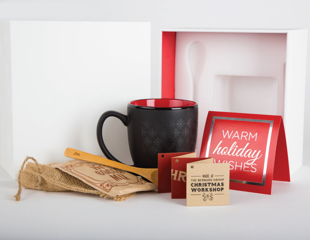 """The Bernard Group Holiday Gift 2015 """"Warm Holiday Wishes""""  Concept & Design  Awards: Printing Industry Midwest - Best of Class and President's Award 2016"""