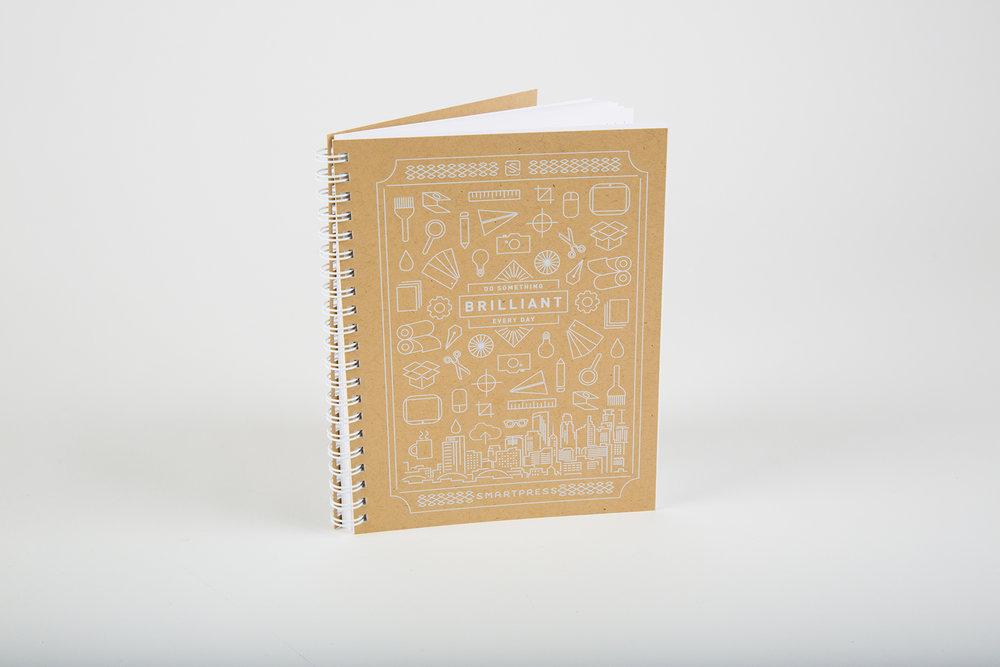 Internal Brand Notebook  White ink on Kraft  Concept, Illustration & Design