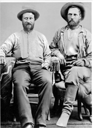 Namesake: William Wesley Hawkins (on right) - From Cavalry Man to Trapper, Hunter, Mountain Man, Teamster, Wilderness guide, Camp Chef on 1869 Major Powell, first expedition through Grand Canyon, Western explorer, Friend of the American Indians to early Settler of Eden, Arizona, Religious Leader, and Justice of the Peace, he certainly lived a full life.