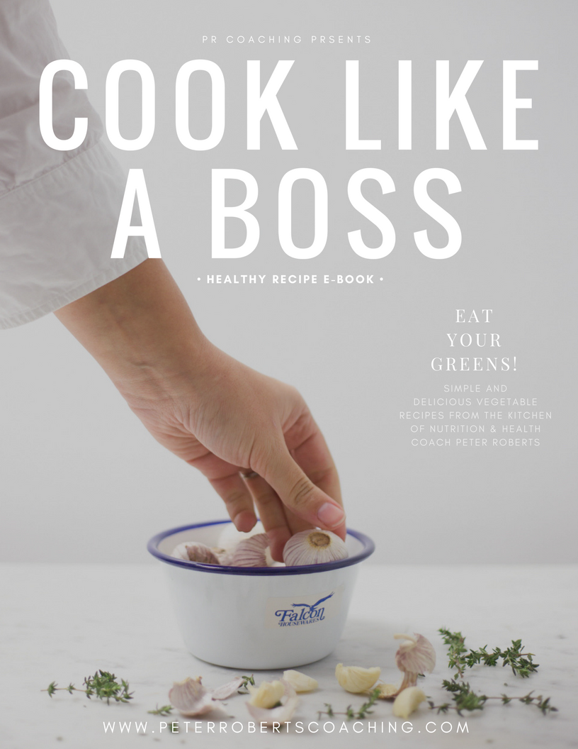 FREE healthy recipe book with over 30 easy to prepare, nutrient dense dishes that're easy to make in large batches - By PR Coaching