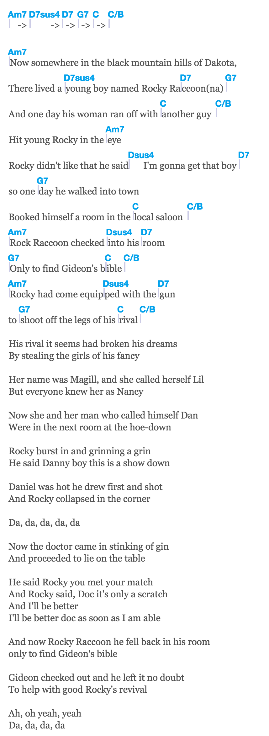 2 rocky raccoon the beatles jack marci if you want to sing out sing out chords by cat stevens songsterr tabs with rhythm hexwebz Images