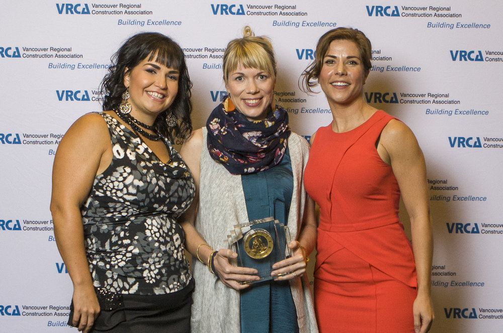 VRCA Outstanding Woman in Construction Libby Rowe (in middle) with Lindsey Dru from Canadian Construction Women and Danielle Johannes from the SuperSae Group of Companies.