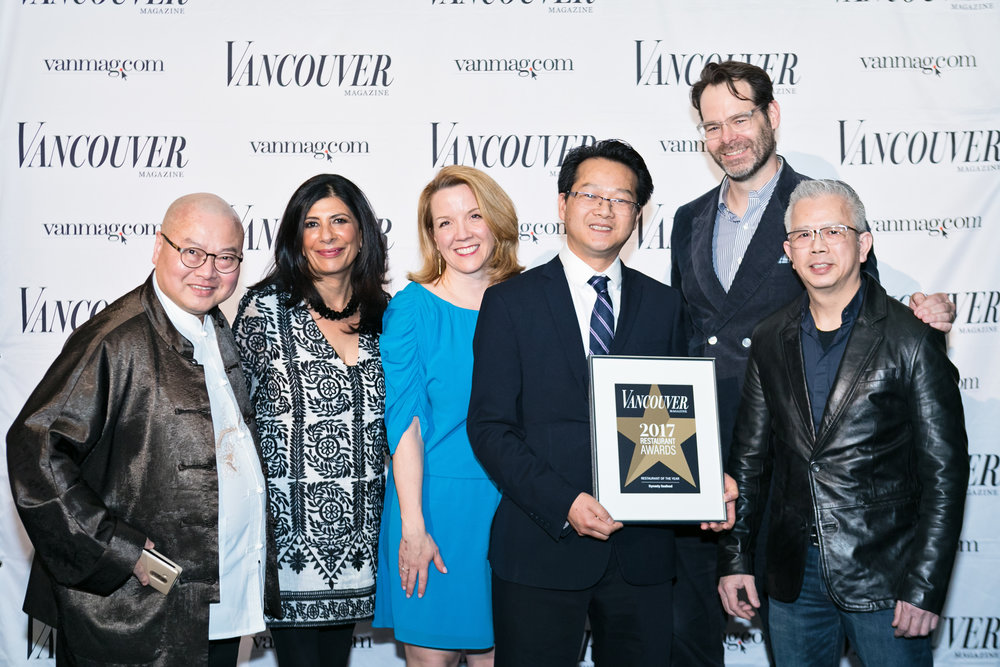 Dynasty Seafood accepting the  Restaurant of the Year  award from the  Vancouver  Magazine editorial team Dee Dhaliwal, Anicka Quin, and Neal McLennan.