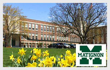 Matignon High School                                               More>>>     Year Established: 1947   Location: Cambridge, MA  Type of School:  Private HS. CO-ED   Grades: 9-12  Average Class Size: 18