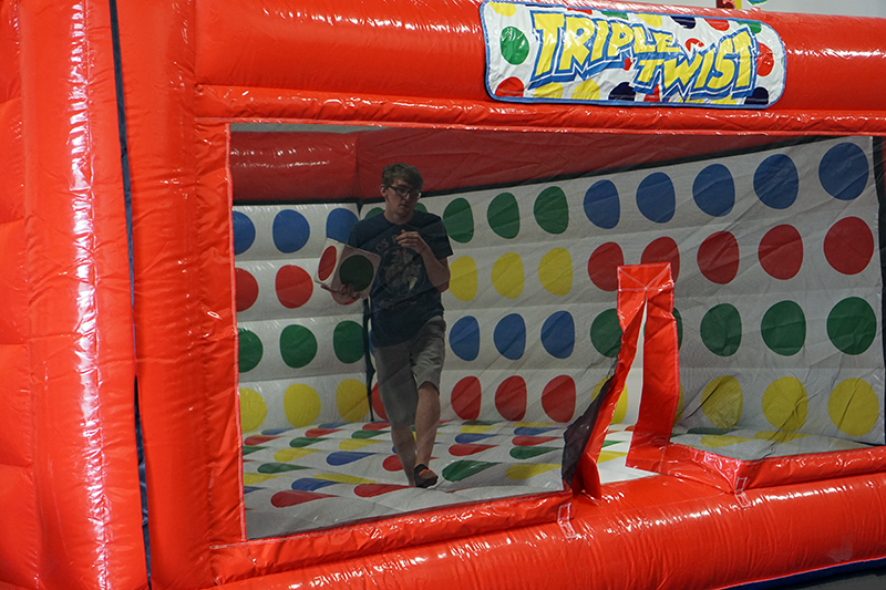 Bend, Twist, Stretch! This clever new twist on an old classic Twister game is perfect for any occasion and fun for all ages.   People Per Hour: 100 Power Requirement: 20 AMPS  Set-up Time: 30 Minutes Space Required: 23' x 23' x 14'