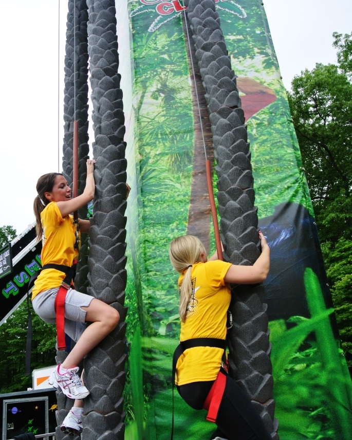 The mobile COCONUT TREE CLIMB is a themed attraction that you can bring to your customer's event that will provide a unique and memorable experience.  These trees are fun and easy to climb with textured trunks to grab and additional bolt-on handholds every 2 feet (60 cm).  Climbers race against each other or against the clock (LED timer on the center tree).  This themed attraction is sure to provide an experience your customer will never forget!   People Per Hour: 60-80   Power Requirement: 20 AMPS    Set-up Time: 2 Hours Space Required: 30' X 30'
