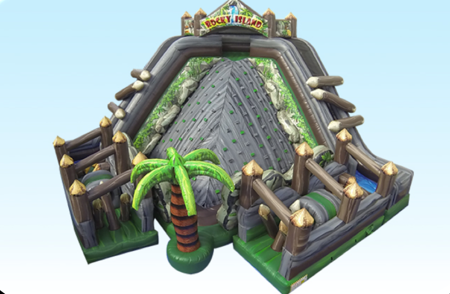 The all new Rocky Island combines 3 of the best inflatable attractions in one...a rock wall, 2 slides and 2 mini obstacle courses.  This attraction is perfect for any tropical themed event and is a highly visual piece geared towards large throughput events.  Colleges, schools, towns and team builders...get ready for the all new Rocky Mountain, its paradise! People Per Hour: 75+ Power Requirement: (2) 20 AMPS Set-up Time: 1 Hour Space Required: 32' x 32' x 22'