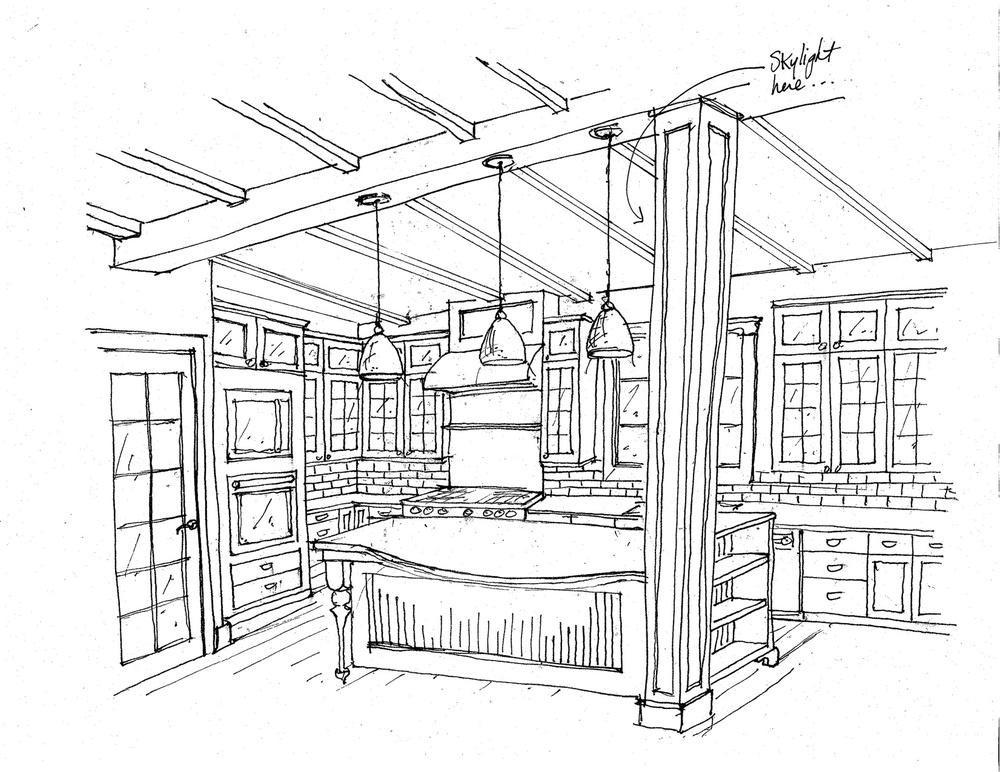 farmhouse kitchen with column