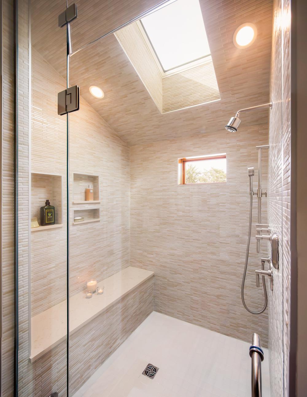 Walk in shower skylight