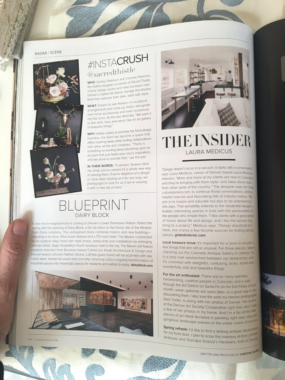 """The Insider: Laura Medicus"" in Luxe Interiors + Design, Colorado March/April 2017.  For more about this check out this Colorado Nest post."
