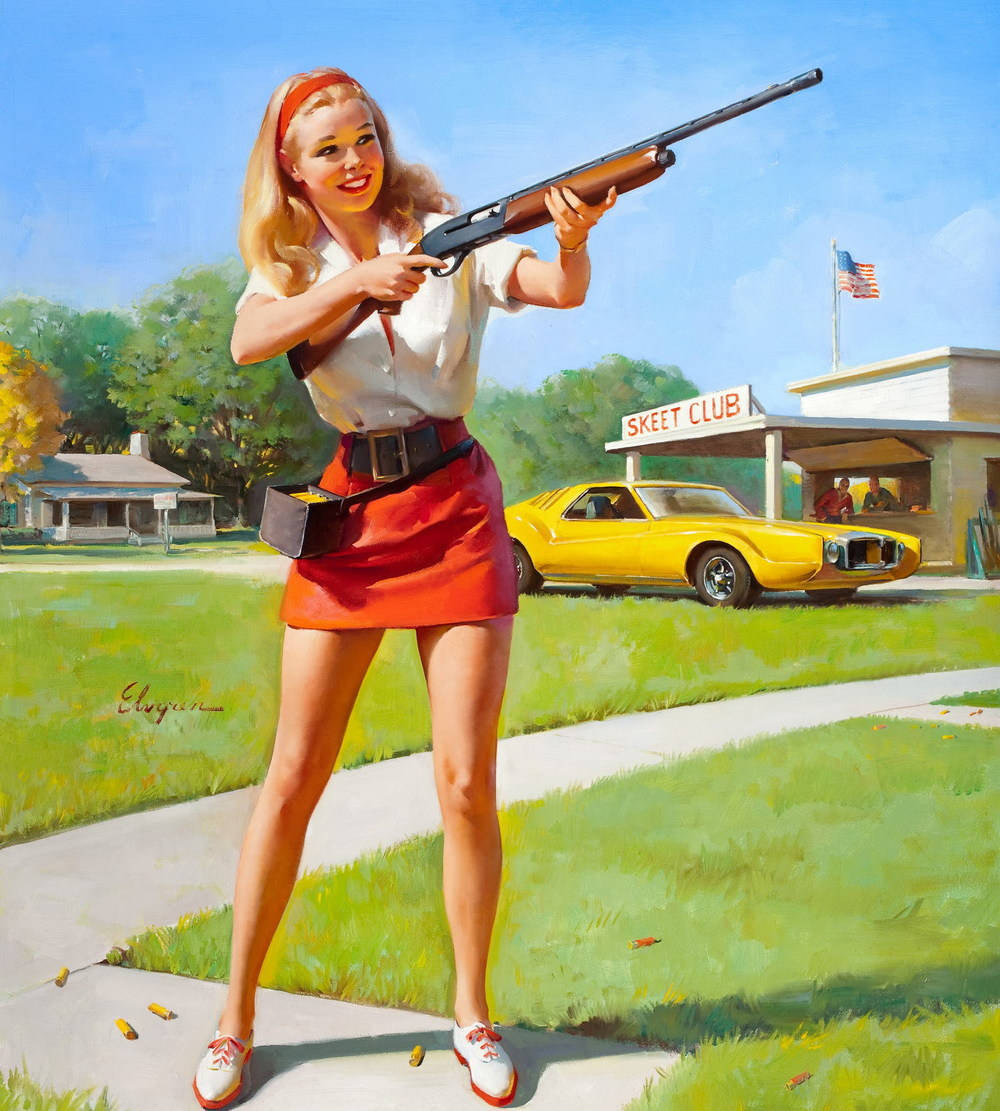 GIL ELVGREN (1914-1980). Skeet Club, NAPA calendar illustration, c. 1974