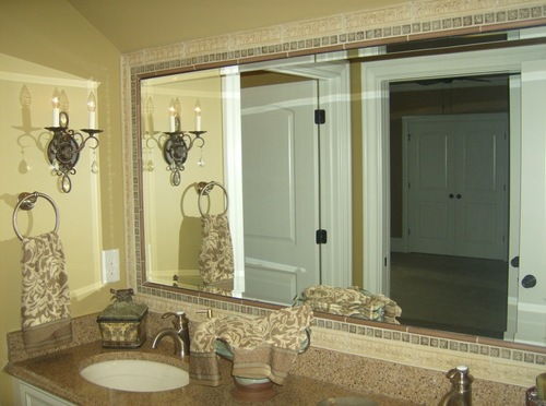 Beveled Bathroom Mirror Inset in Tile Frame. Mirror   Clearlight Glass  amp  Mirror