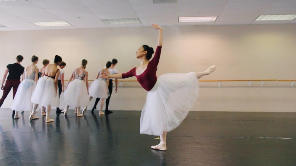 Rehearsing the role of Fall Soloist for Julianna Rubio Slager's  Four Seasons of the Soul . (Ballet 5:8, 2018)