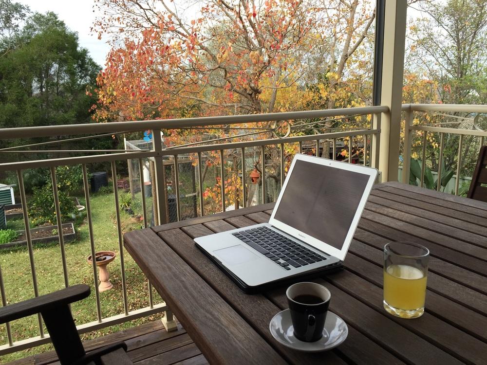 Back verandah at my childhood home. Greek coffee as fuel.