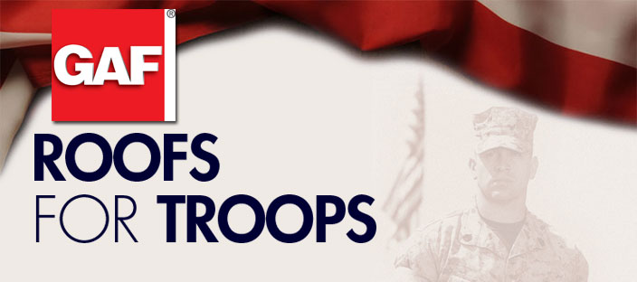 Thank you to all the Veterans and all active military. You've served us, now let us serve you. Please inquire about any discount promotions associated with GAF's Roofs for Troops program.