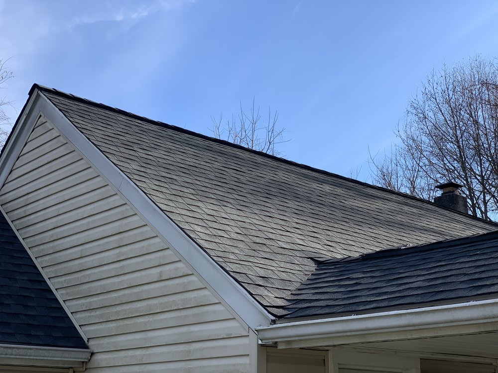 Charcoal shingles - just how she wanted for her roof!