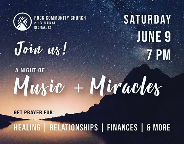Come join us June 9th as we seek God's move on our lives and the lives of those around us! #worshipnight #miracles #prayer #redoaktx #dallas #tx #community #revival #healing #faith #movingmountains
