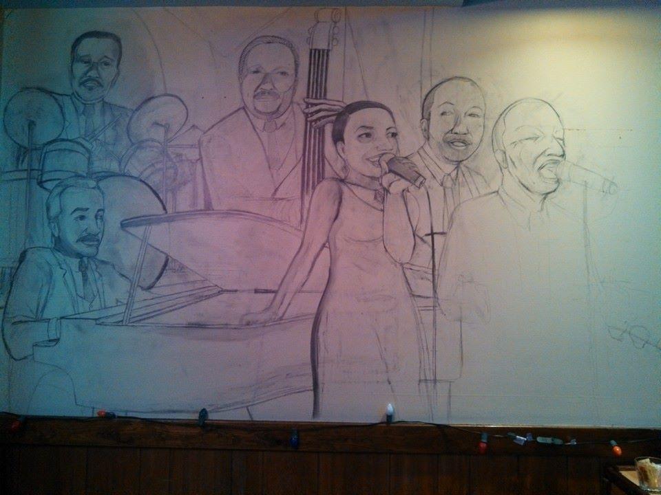 Sketch - Bar Mural 2, Unc's Patio, Auburn, Ohio