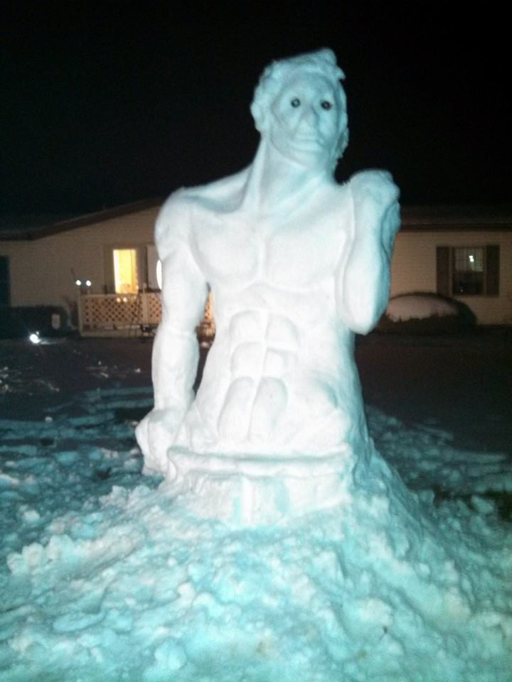 "Michelangelo's ""David"" Snow Man"