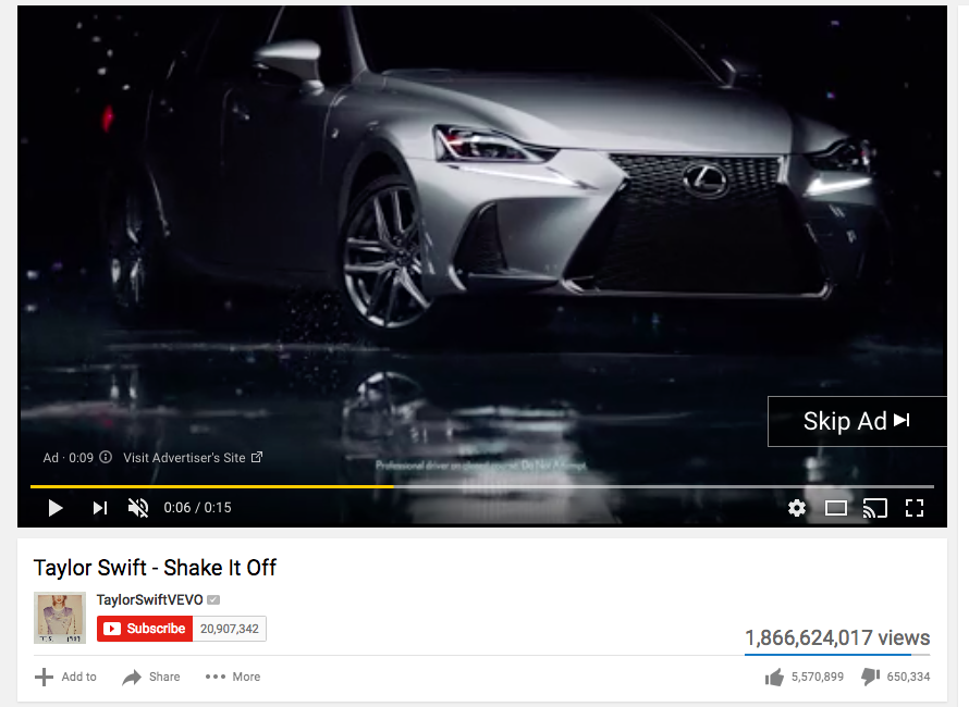 Screenshot of a Lexus pre-roll video ad playing before a Taylor Swift music video on YouTube.