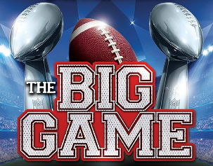 """Foot ball in between two Super Bowl Trophies with """"The Big Game"""" text overlay."""
