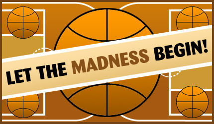 """Image from Interbasket.net. Basketball inside of basketball courts designed to look like brackets. Text overlay """"let the madness begin!"""""""