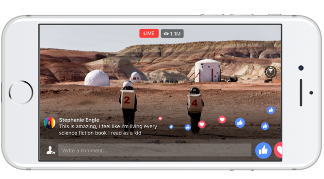 Horizontal iPhone displaying a 360 degree Facebook Live video