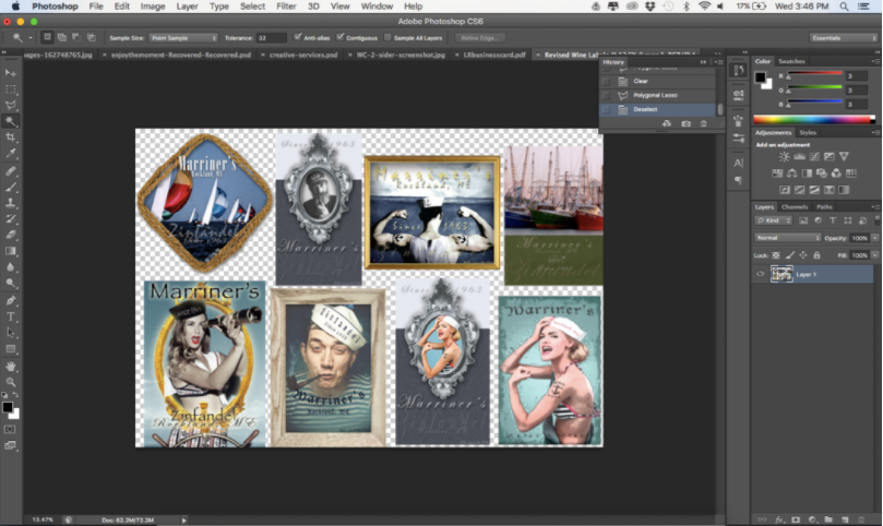 Photoshop screenshot featuring several sailor images.