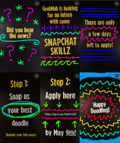 "GrubHub Brand Ambassador program application process steps including ""Snapchatting"" doodles to Grubhub."