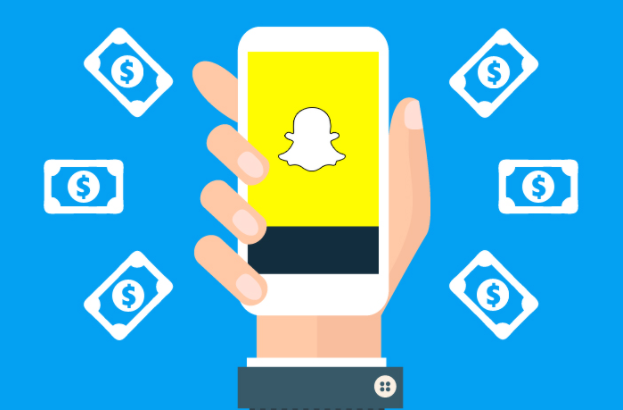Cartoon hand holding a phone with the Snapchat logo displayed. Money is floating around the hand.