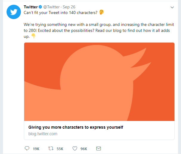 Screenshot of a tweet from Twitter announcing their 280 character limit rollout.