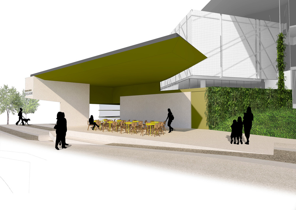The proposed design extends the use of the civic platform by incorporating a cafe tenancy.