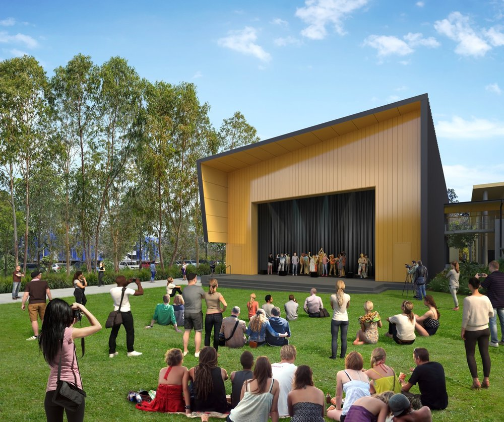The inviting lawned terrace welcomes community engagement with music, drama and performance on display, whilst promoting connections within and surrounding the site.