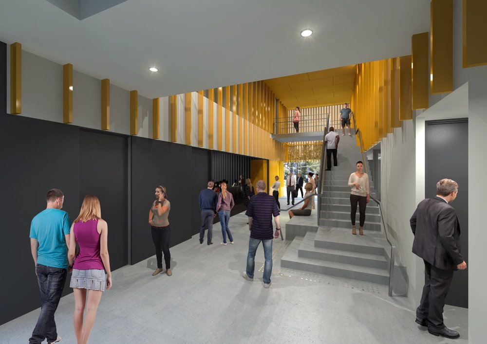 The central foyer space connects all three main building functions and offers strong visual connections between spaces, promoting learning on display.