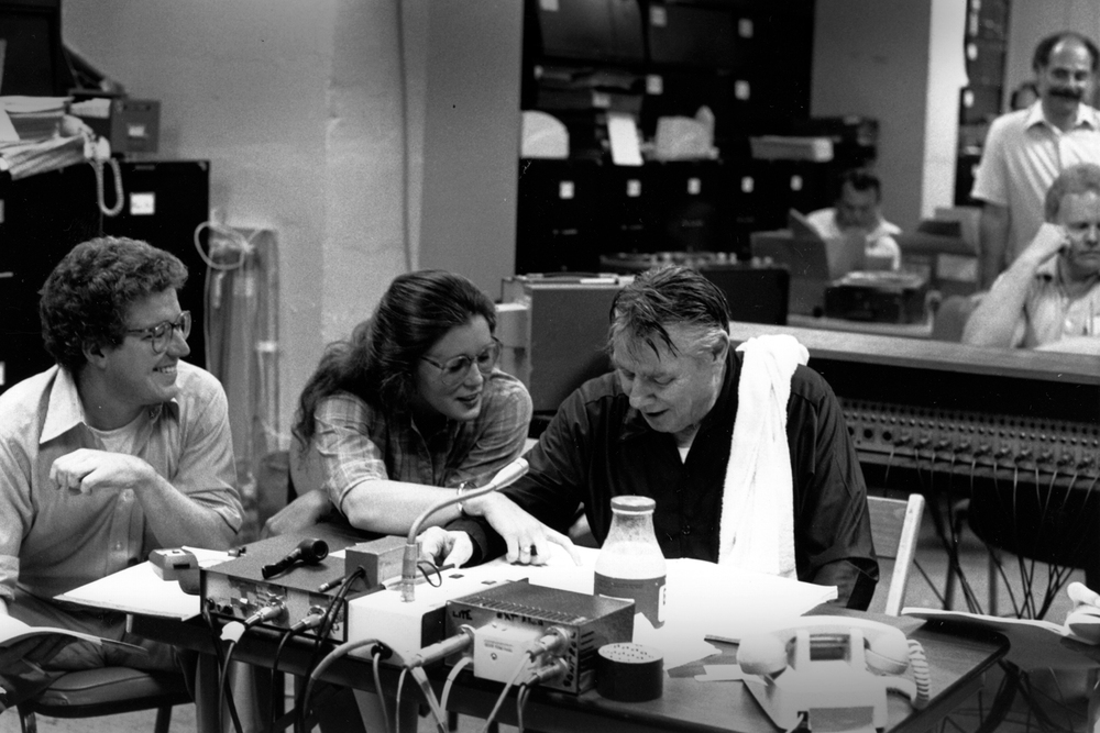 Fred Scott, Sylvia McNair and Robert Shaw backstage in recording session for Poulenc's Gloria, 1982.