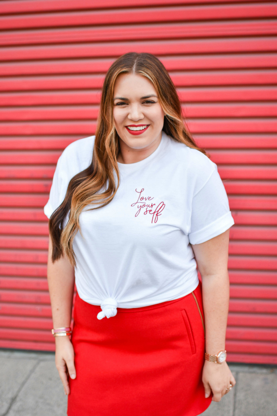 Sarah Sassy Red Lipstick Love Yourself Shirt by Friday Apparel