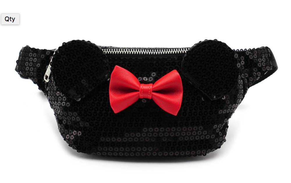 Minnie Black Sequin Fanny Pack