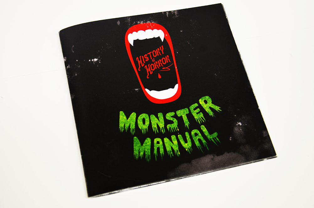 Booklet as part of a promotional item for the museum. A Monster Manual featuring the 10 most celebrated horror icons through film history. Custom type inspired by the type on 30s/40s horror B-movie posters.