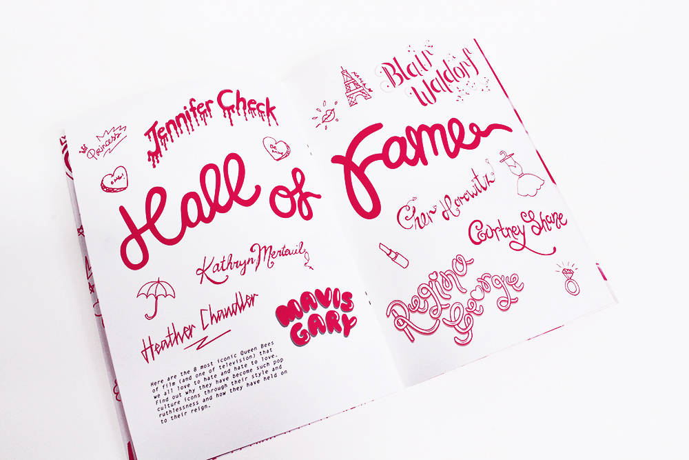 Hand drawn doodles were part of the design to resemble a teenage girl's notebook. The custom type was a mixture of both vectorized and hand generated type.
