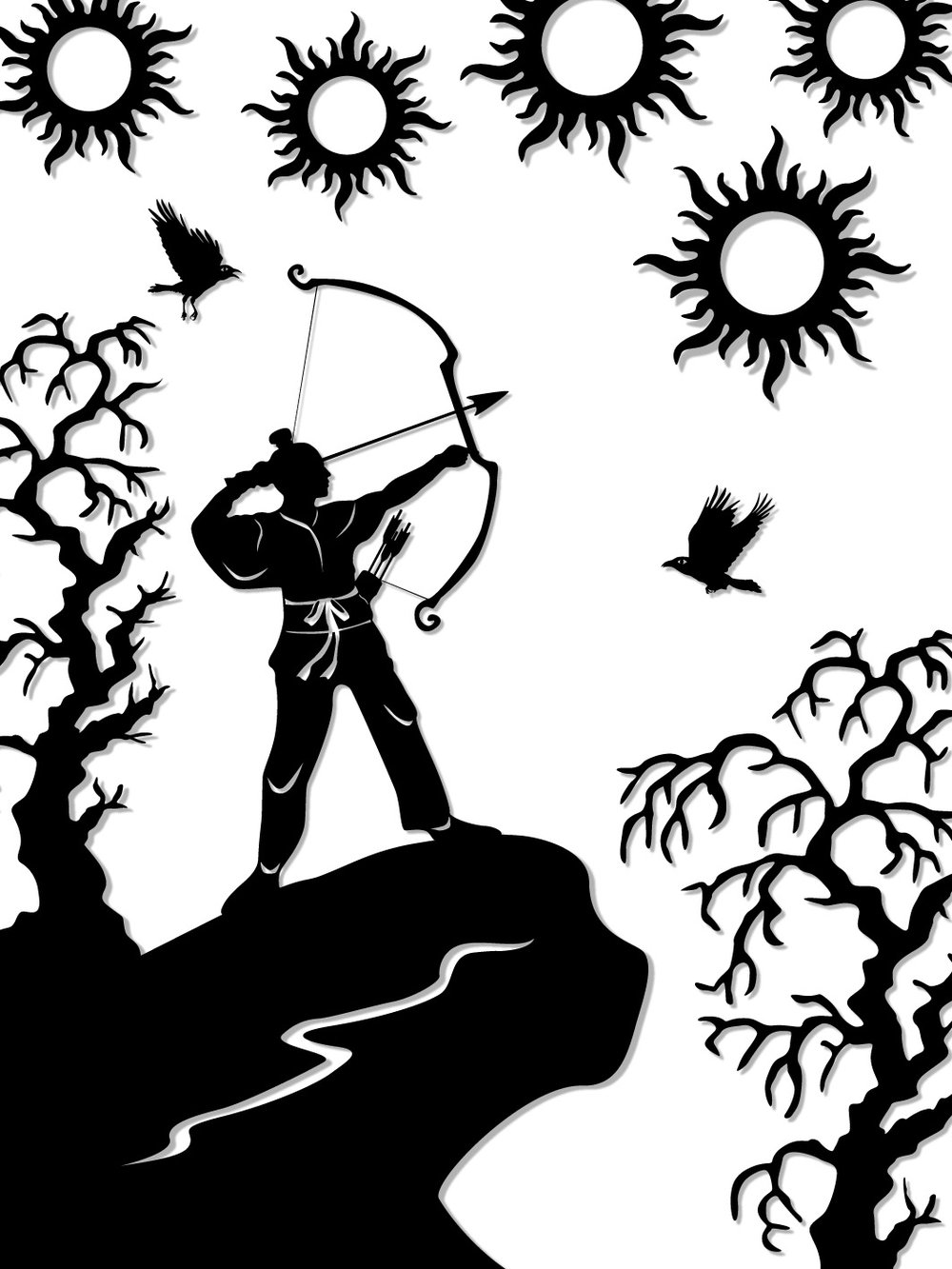 The Legend of the Moon Goddess : Hou Yi shoots down the suns.