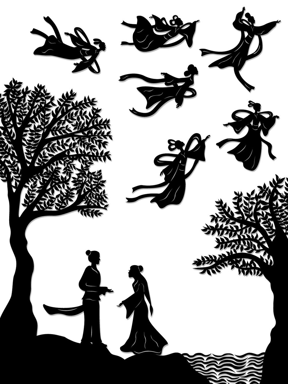 The Cowherd & the Weaving Maiden : The weaving maiden is stranded as her fairy sisters fly away