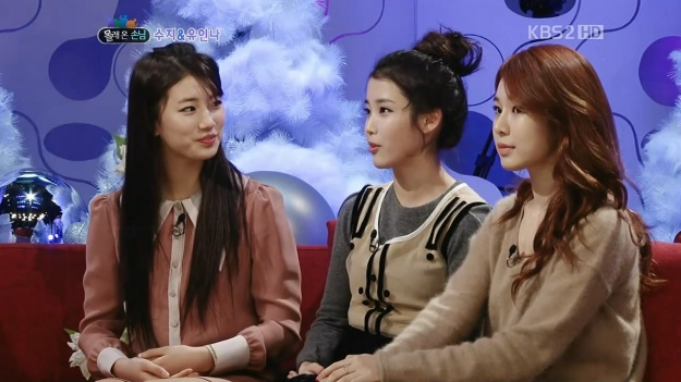 Suzy, IU and Yoo Inna talking about their friendship on a variety show