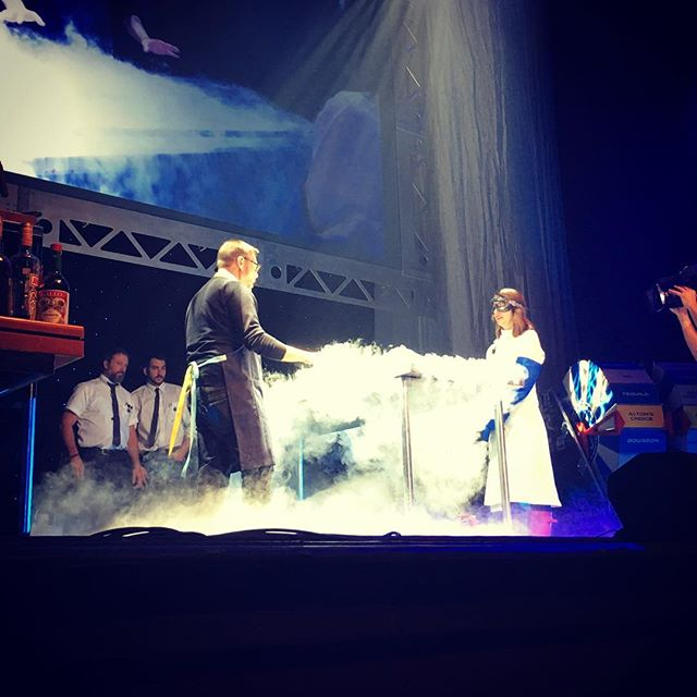 The humans and the robots enjoyed the liquid nitrogen part of the #altonbrownlive show tonight.