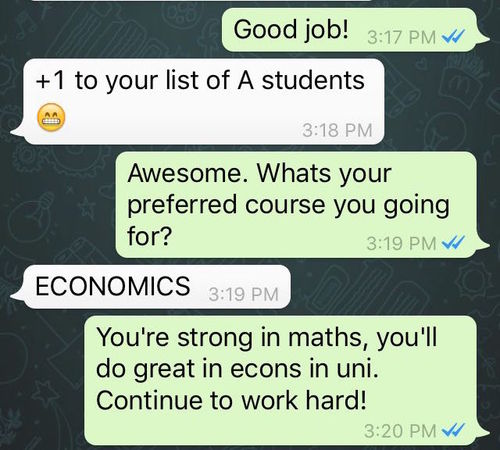 Student went from failing to getting A for Economics (click to enlarge)