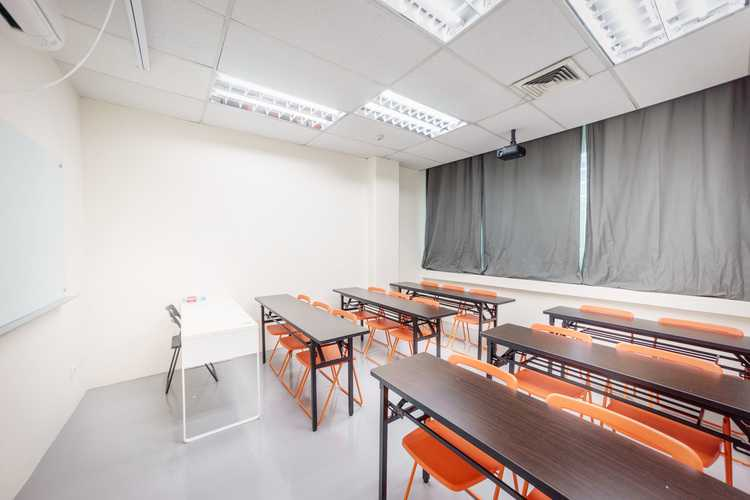 All our classrooms come equipped with aircon, projector and screen, a white glass board, and comfortable chairs and tables for our students to learn in a pleasant environment.